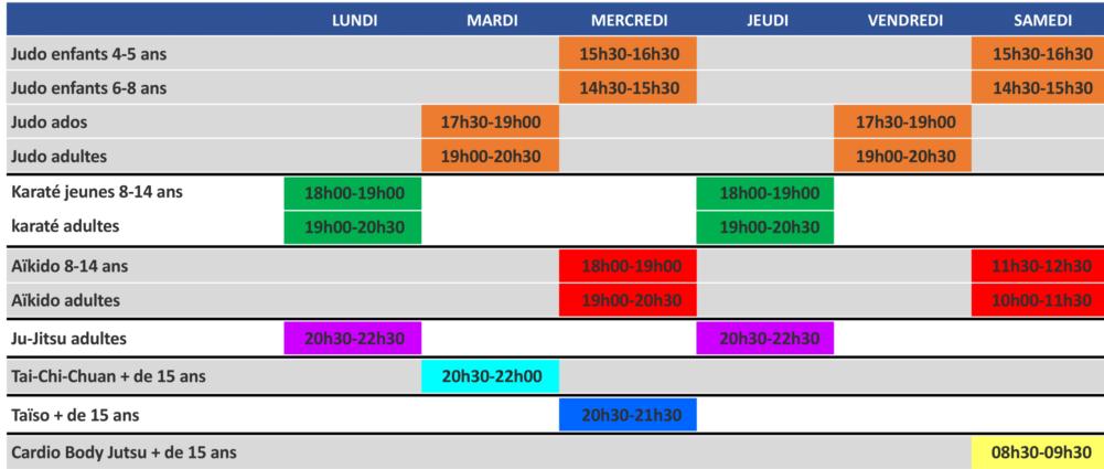 horaires judo karaté aïkido ju jitsu club Léognan